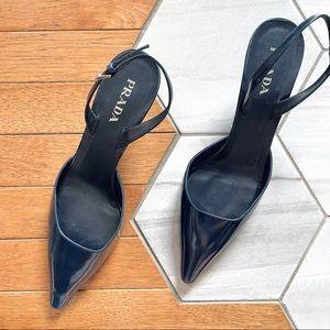 Prada Patent Leather Blue Slingback Kitten Heels